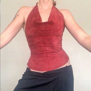 SOLD Vtg Wet Seal Leather Wine Red Halter Top sz M
